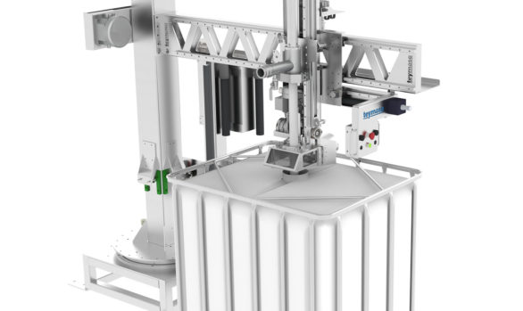 Filling machine for drums on pallet and IBC containers
