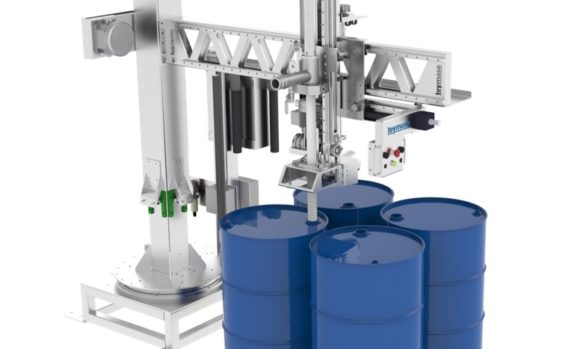 Semi-automatic filling machine for drums on pallet and IBCs