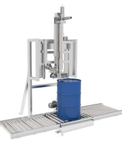 Filling machine for drums in line